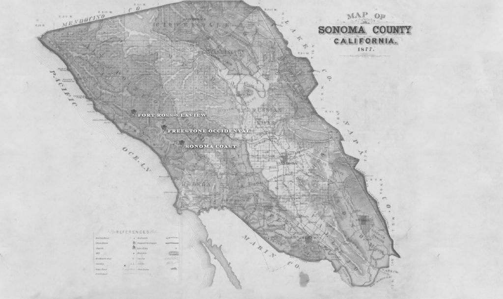 Sonoma Coast overzicht, landkaart, RAEN Winery